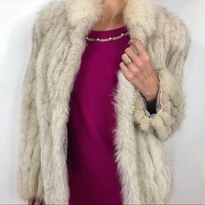 Vintage Saga Genuine Fox Fur Coat Winter White